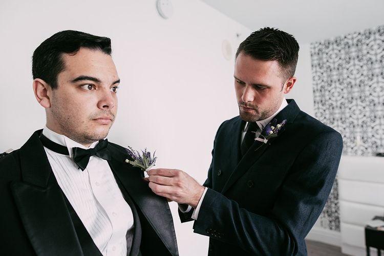 Groomsmen Thistle Buttonnieres | Stylish Wedding at the M Building in the Miami Art District | Sara Lobla Photography