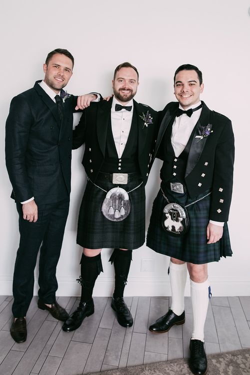 Groomsmen in Kilts & Sporrans | Stylish Wedding at the M Building in the Miami Art District | Sara Lobla Photography