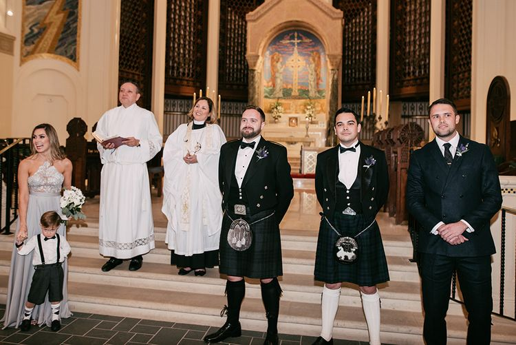 Groomsmen at the Trinity Cathedral Altar | Stylish Wedding at the M Building in the Miami Art District | Sara Lobla Photography