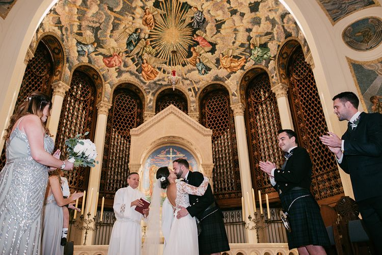 Wedding Ceremony at Trinity Cathedral, Miami | Bride in Lace Anne Barge Wedding Dress | Groom in Kilt & Sporran | Sara Lobla Photography