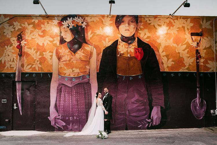 Bride in Lace Anne Barge Wedding Dress | Groom in Kilt & Sporran | Stylish Wedding at the M Building in the Miami Art District | Sara Lobla Photography