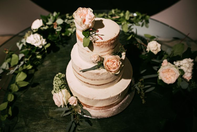 Semi Naked Wedding Cake | Stylish Wedding at the M Building in the Miami Art District | Sara Lobla Photography