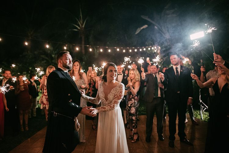 Sparkler Moment | Stylish Wedding at the M Building in the Miami Art District | Sara Lobla Photography