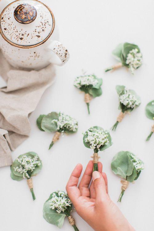 White & Green Buttonholes