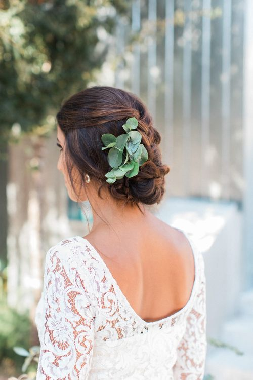 Chic Bridal Up Do with Eucalyptus Leaves in her Hair
