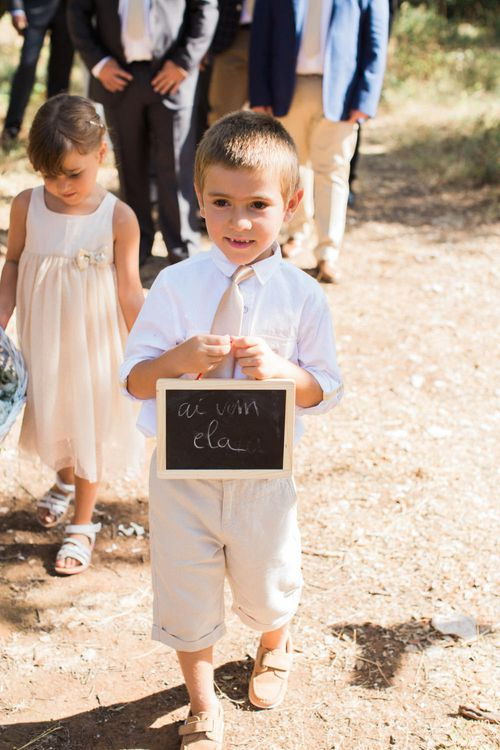 Page Boy with Chalkboard Sign