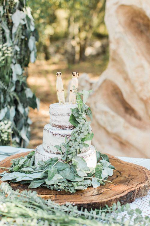 Semi Naked Wedding Cake with Meerkat Cake Topper