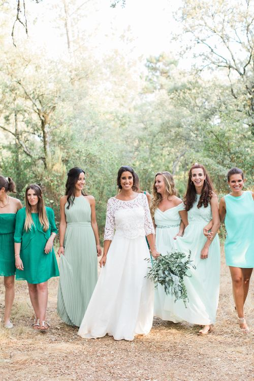 Bridesmaids in Mis-match Green Dresses
