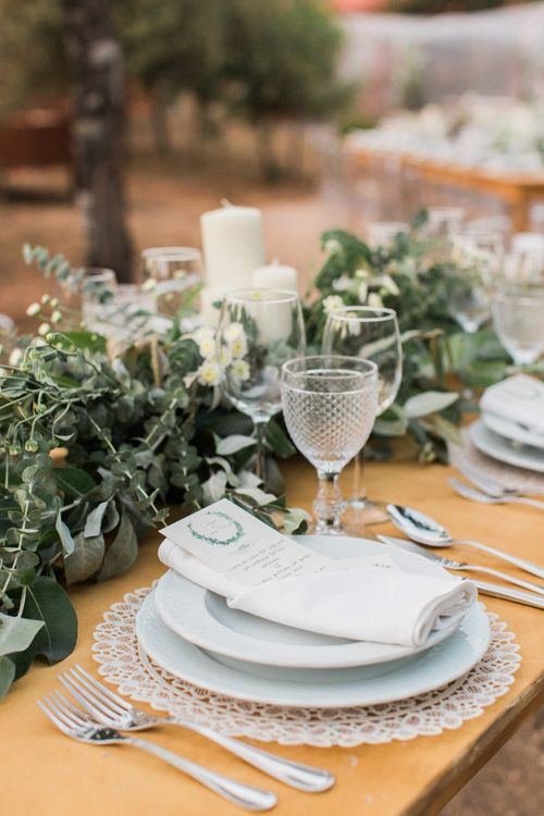 Elegant Place Setting with Greenery Table Garland