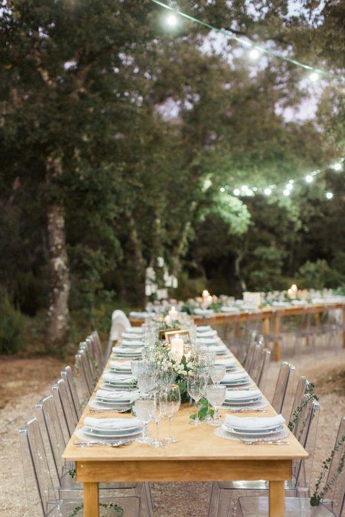 Woodland Trestle Table Wedding Breakfast