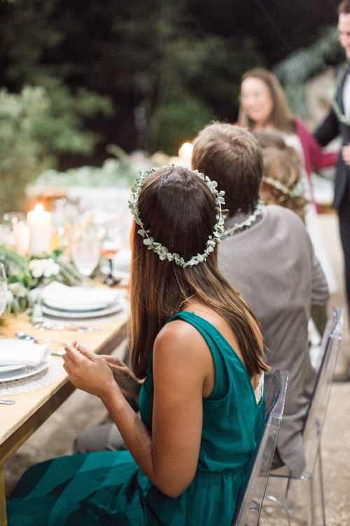 Wedding Guests with Delicate Flower Crown