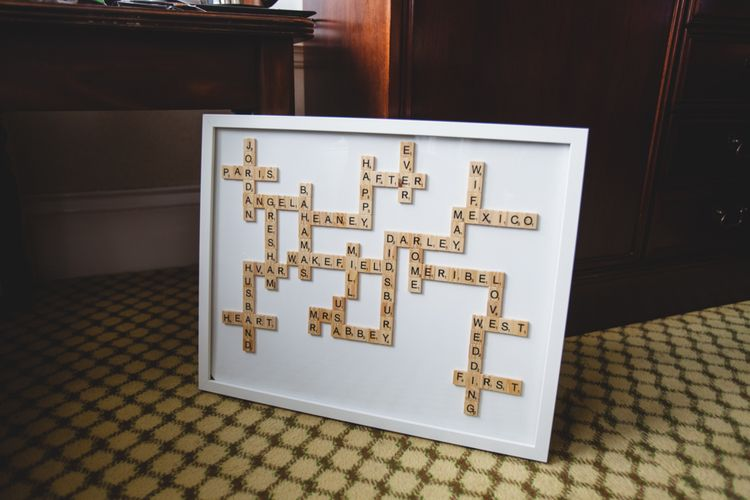Scrabble Tile Wall Art | Industrial Wedding at The West Mill Venue | Sarah Gray Photography