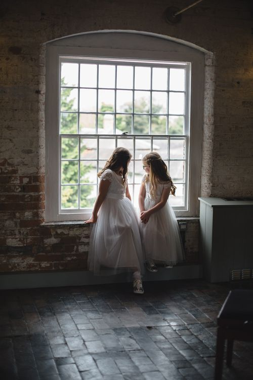 Flower Girls | Industrial Wedding at The West Mill Venue | Sarah Gray Photography