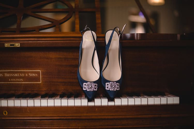 No. 1 Jenny Packham Navy Jewel Bridal Shoes | Industrial Wedding at The West Mill Venue | Sarah Gray Photography