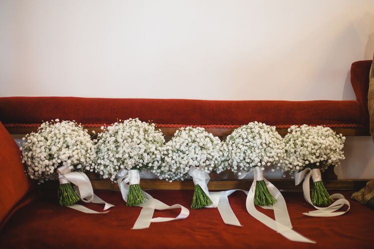 Gypsophila Bouquets | Industrial Wedding at The West Mill Venue | Sarah Gray Photography