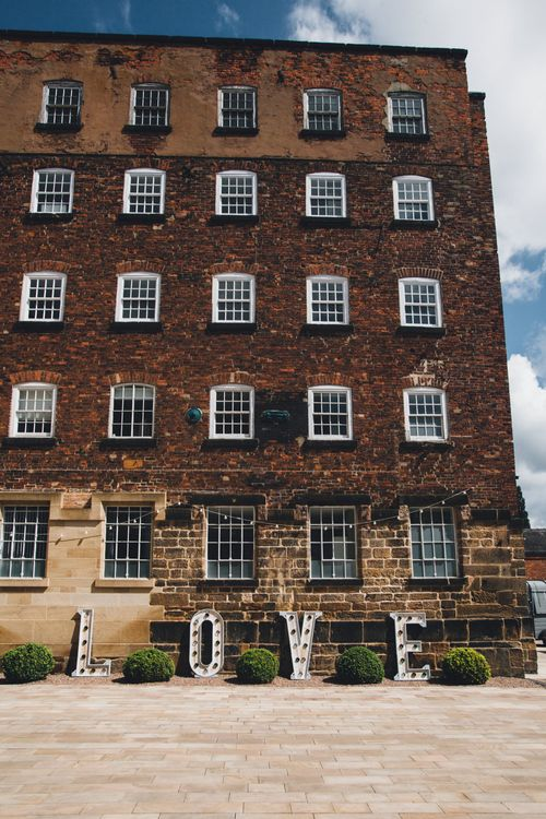 Giant LOVE Letters | Industrial Wedding at The West Mill Venue | Sarah Gray Photography
