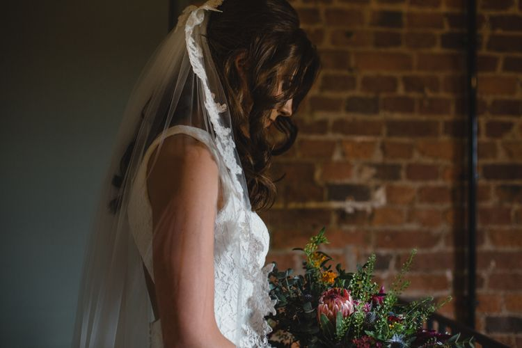 Bride in Pronovias Ornani Bridal Gown & Veil | Industrial Wedding at The West Mill Venue | Sarah Gray Photography
