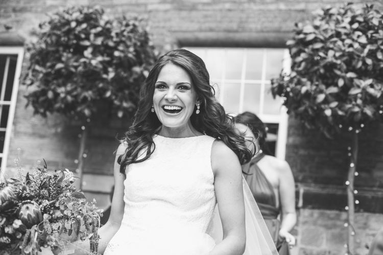 Bride in Pronovias Ornani Bridal Gown | Industrial Wedding at The West Mill Venue | Sarah Gray Photography