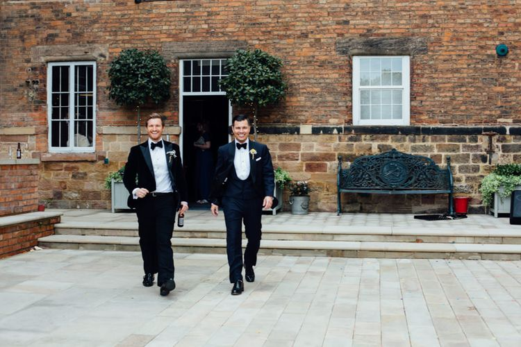 Groomsmen in Tuxedos | Groom in Charles Tyrwitt Midnight Blue Tuxedo | Industrial Wedding at The West Mill Venue | Sarah Gray Photography