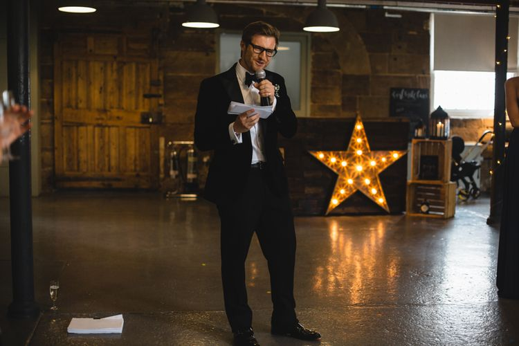 Wedding Speeches | Industrial Wedding at The West Mill Venue | Sarah Gray Photography