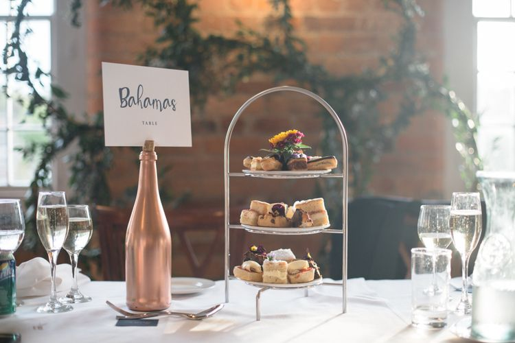 Afternoon Tea Cake Stand | Industrial Wedding at The West Mill Venue | Sarah Gray Photography