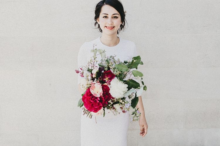 Red Oversized Bouquet | Stylish Bride in Givency Gown | Jason Williams Photography
