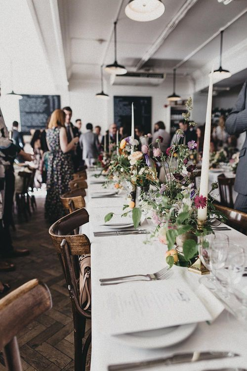 Floral Table Centrepieces | Relaxed Wedding at St John Bread & Wine | Jason Williams Photography