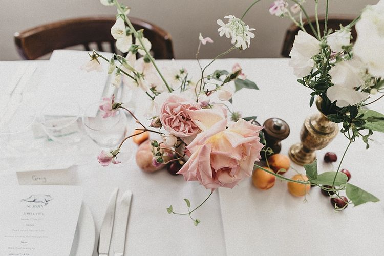 Delicate Blush Flower & Fruit Table Centrepiece | Relaxed Wedding at St John Bread & Wine | Jason Williams Photography