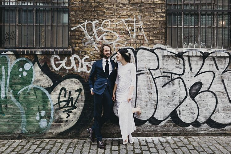 Stylish Bride in Givency Gown | Groom in Suit Supply | London City Wedding | Jason Williams Photography