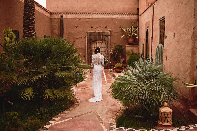 Bride in Bespoke Hermione de Paula Bridal Gown | Stylish Destination Wedding in Marrakesh | Andy Gaines Photography