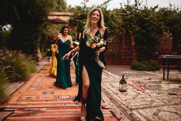 Bridesmaids in Forest Green Dresses | Stylish Destination Wedding in Marrakesh | Andy Gaines Photography