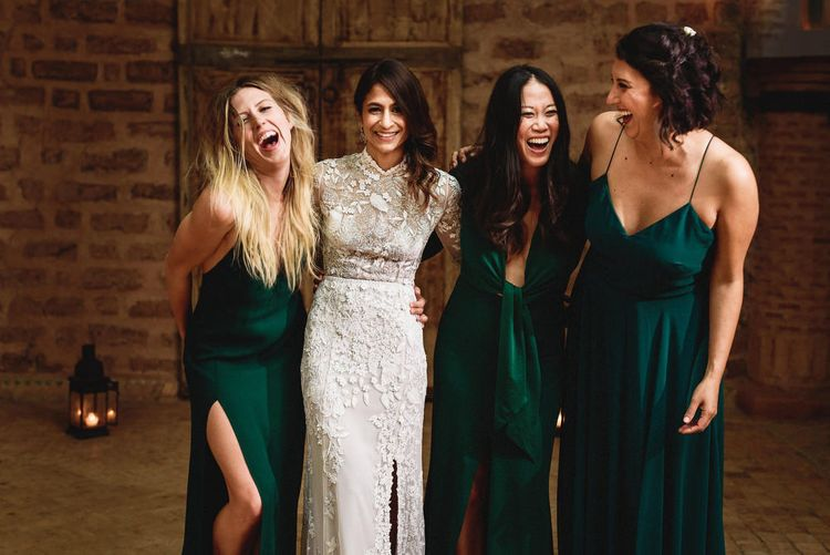 Bride in Bespoke Hermione de Paula Bridal Gown | Bridesmaids in Forest Green Dresses | Stylish Destination Wedding in Marrakesh | Andy Gaines Photography