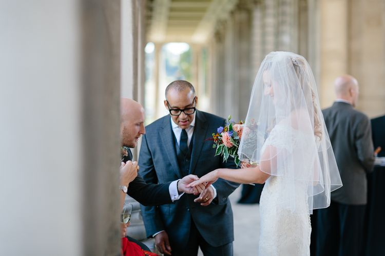Wedding Ceremony at The Old Royal Navy Collage   Bride in Lace Eternity Bride Wedding Dress   Christine Wehrmeier Photography