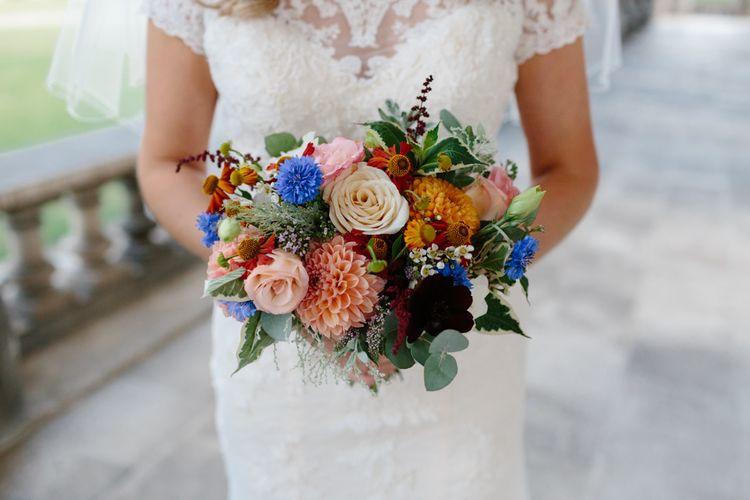Bright Bridal Bouquet   Bride in Lace Eternity Bride Wedding Dress   Christine Wehrmeier Photography