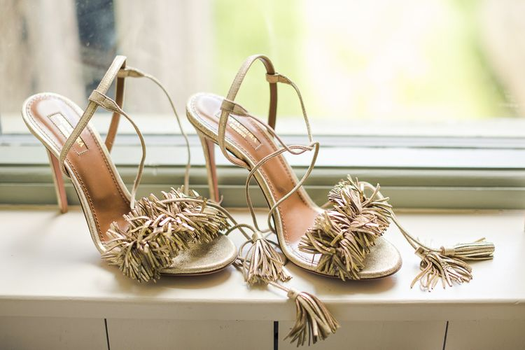 Aquazurra Wedding Shoes | Rustic Soho Farmhouse Ceremony with PapaKata Sperry Tent Greenery filled Reception | Marianne Taylor Photography | Will Warr Films