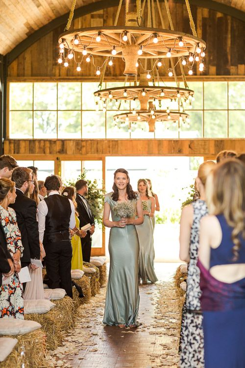 Pale Green Ghost Bridesmaid Dresses | Rustic Soho Farmhouse Ceremony with PapaKata Sperry Tent Greenery filled Reception | Marianne Taylor Photography | Will Warr Films