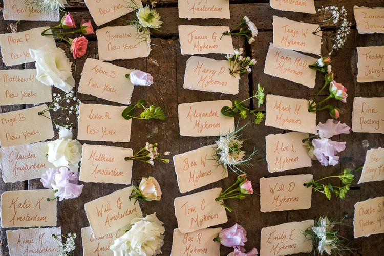 Escort Cards Seating Chart | Rustic Soho Farmhouse Ceremony with PapaKata Sperry Tent Greenery filled Reception | Marianne Taylor Photography | Will Warr Films