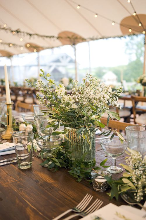 Table Centrepiece | Rustic Soho Farmhouse Ceremony with PapaKata Sperry Tent Greenery filled Reception | Marianne Taylor Photography | Will Warr Films