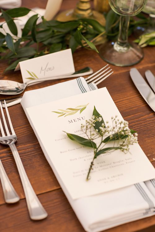 Greenery Place Setting | Rustic Soho Farmhouse Ceremony with PapaKata Sperry Tent Greenery filled Reception | Marianne Taylor Photography | Will Warr Films