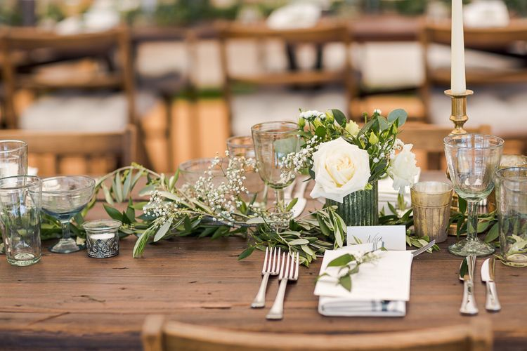 Greenery Table Runner | Rustic Soho Farmhouse Ceremony with PapaKata Sperry Tent Greenery filled Reception | Marianne Taylor Photography | Will Warr Films
