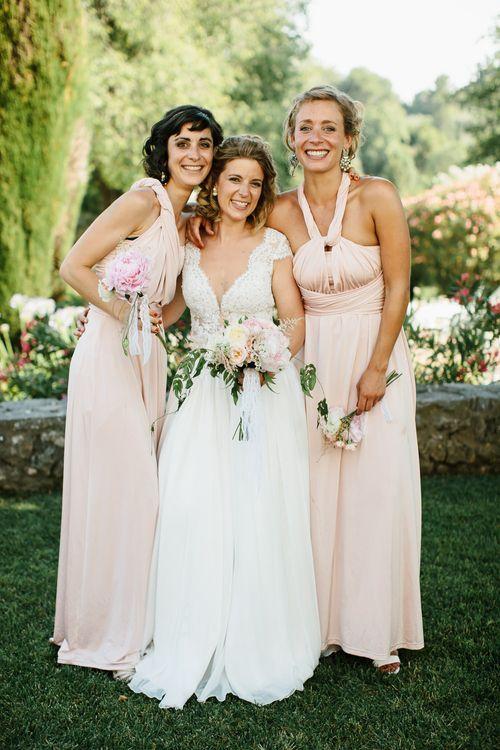 Bride & Bridesmaids in Pink Debenhams Dresses
