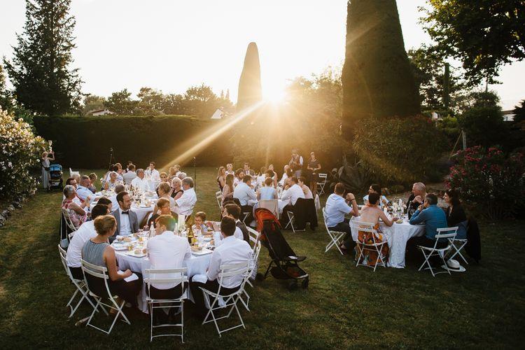Outdoor Wedding Breakfast at Sunset