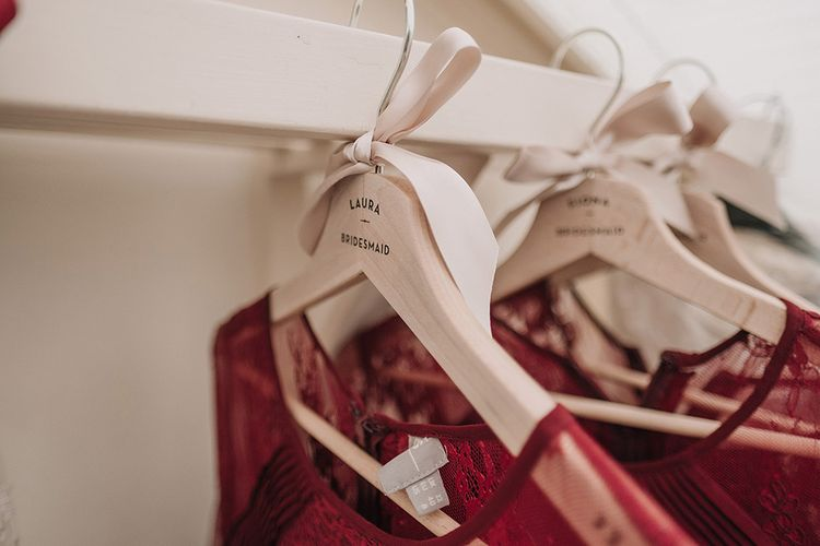Personalised Bridal Party Hangers | DIY Lord of the Rings Themed Wedding at Monks Barn in Maidenhead | Jason Mark Harris Photography | Cinematic Films By J
