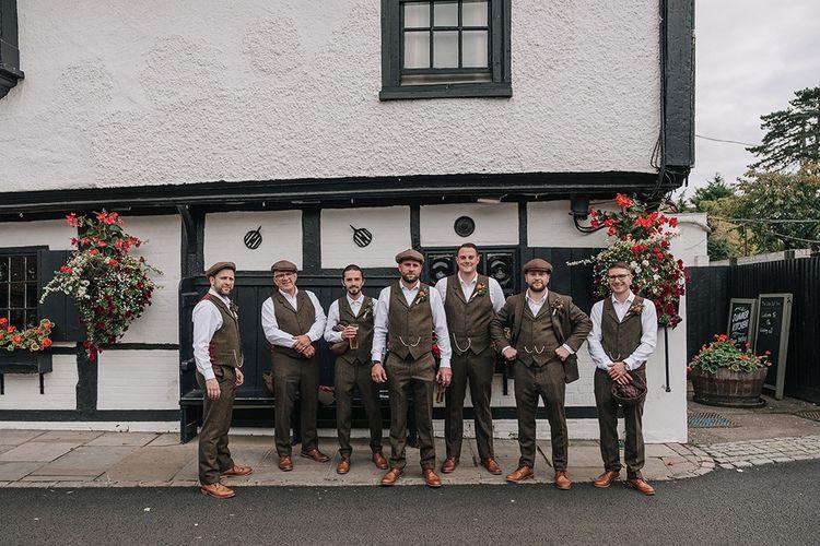 Groomsmen in Tweed Walker Slater Suist | DIY Lord of the Rings Themed Wedding at Monks Barn in Maidenhead | Jason Mark Harris Photography | Cinematic Films By J