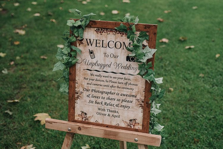 Unplugged Wedding Ceremony Sign | DIY Lord of the Rings Themed Wedding at Monks Barn in Maidenhead | Jason Mark Harris Photography | Cinematic Films By J