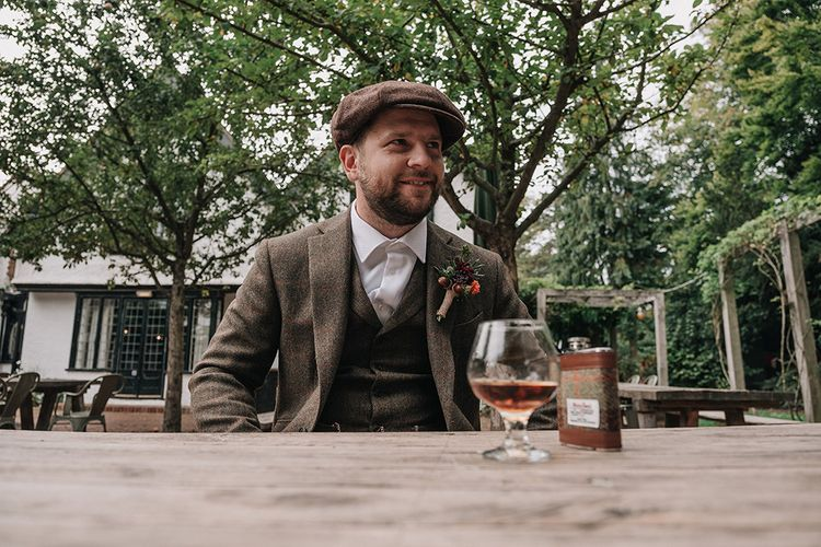 Groom in Walker Slater Tweed Suit | DIY Lord of the Rings Themed Wedding at Monks Barn in Maidenhead | Jason Mark Harris Photography | Cinematic Films By J