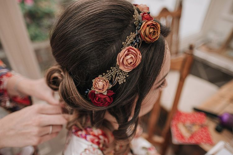 Flower Adorned Bridal Hair Style | DIY Lord of the Rings Themed Wedding at Monks Barn in Maidenhead | Jason Mark Harris Photography | Cinematic Films By J