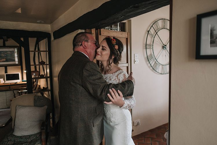 Bride in Lisa Donetti Adriana Gown | Father of the Bride in Tweed Walker Slater Suit | DIY Lord of the Rings Themed Wedding at Monks Barn in Maidenhead | Jason Mark Harris Photography | Cinematic Films By J