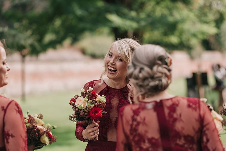 Bridesmaids in Red ASOS Dresses | DIY Lord of the Rings Themed Wedding at Monks Barn in Maidenhead | Jason Mark Harris Photography | Cinematic Films By J
