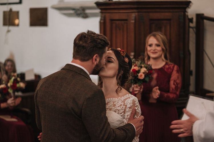 Church Wedding Ceremony | Bride in Lisa Donetti Adriana Gown | Groom in Tweed Walker Slater Suit | DIY Lord of the Rings Themed Wedding at Monks Barn in Maidenhead | Jason Mark Harris Photography | Cinematic Films By J